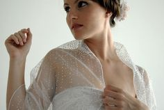 Jäckchen Plus size wedding shawl with silver sparkling dots. 4 ways top- shrug , shawl , criss cross and scarf (TL142ps)