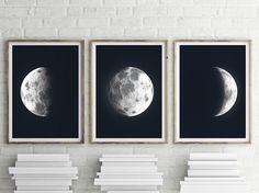 Moon Triptych - PRINTABLE FILE. La Luna Moon Art. Lunar Moon Print. Set of 3. Moon Prints. Solar System Art. Celestial Dorm Room Art.