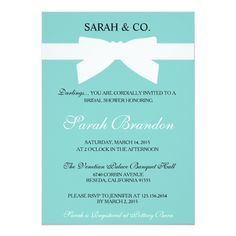 Tiffany Blue Bow Bridal Shower Invite