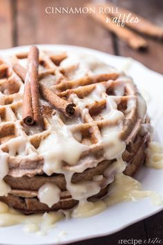 Cinnamon Roll Waffles   The Recipe Critic - So very delicious! I did substitute about 1/4 cup of the flour with spelt flour. Served with scrambled egg waffles for New Year's breakfast.