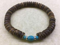 MENS 8mm COCONUT & TURQUOISE Gemstone Bead BRACELET - Native American Inspired
