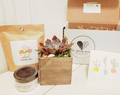 Our Thank You! gift box includes a beautiful boxed succulent, Apple, Sage and Sea Salt Shea Body Butter by Tracy's NaturOwl Soaps, a Thank You Garden-in-a-Bag self-grow flower kit by Potting Shed Creations and a personalized Thank You card. Thank You Gifts, Thank You Cards, Shea Body Butter, Gifts Delivered, Gift Boxes, Giving, Sea Salt, Soaps, Personalized Gifts