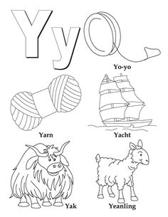 Joy School - the letter Y - cute Y coloring page.