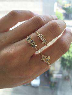 JENNIE KWON ROSE CUT DIAMOND CLUSTER EQUILIBRIUM RING