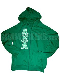 KELLY GREEN ALPHA KAPPA ALPHA ZIP-UP HOODIE WITH AKA LETTERS ONLY  Item Id: PRE-SWPL-AKA10IN    Retail Price: $59.00  You Save: $10.00  Price: $59.00  Your Price: $49.00