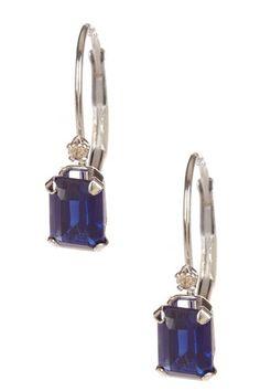 14K White Gold Created Sapphire & Diamond Dangle Earrings by Candela on @HauteLook