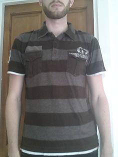 Men's Medium Black/Grey striped Polo shirt - Burton   eBay