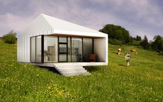 studio PAULBAUT gives a modern twist to austrian residential houses with 'HAUS KW' proposal. Building Systems, Building Design, Small Tiny House, Exposed Concrete, Timber House, Prefab, Play Houses, Studio, Modern