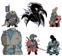New fantasy pals from mytwitter. A gecko warrior, shadow spawn, Jessi the potion master, a mossy golem, a master warrior and Charmaine the orc knight.