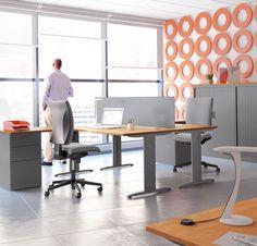 Grey office furniture #orange #grey #modern #calm