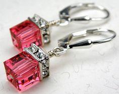 Dejar pendientes rosa cubo de cristal de Swarovski rosa boda