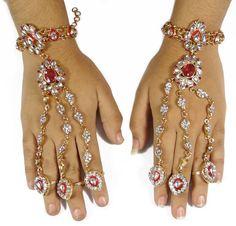 Buy Indian Bridal Jewellery Ring Bracelet Gold Tone Haath Phool ...