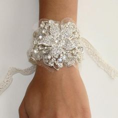 Great Gatsby 1920's Inspired Crystal Floral Bracelet Prom Bridal gift