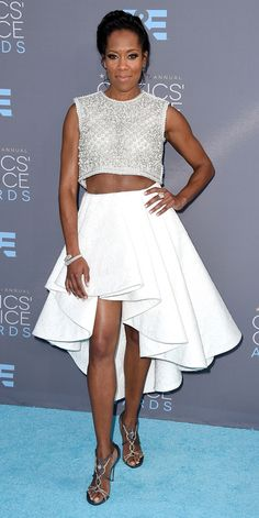 Critics' Choice Awards: Red Carpet Looks You Need to See | People - Regina King in a white A-line party skirt and silver beaded crop top