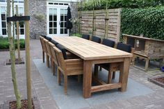 Garden sets - Beautiful robust garden furniture, directly available from stock. Put together your own garden set - Diy Outdoor Table, Outdoor Garden Furniture, Outdoor Rooms, Outdoor Gardens, Outdoor Living, Outdoor Decor, Roof Gardens, Garden Table, Terrace Garden