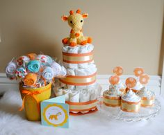 Diaper cake, receiving blanket cupcakes