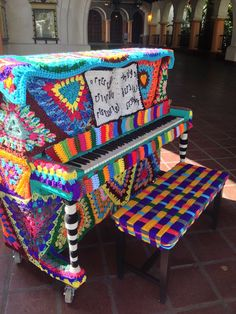 Our crochet-covered piano in Santa Barbara, Oct. 2013.