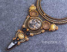 Купить Колье Легенды Инков - черный, золотой, инки, этнический, колье, украшение, бохо