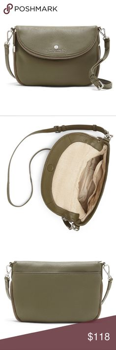 """Vince Camuto Rizo Flap Saddle Bag Vince Camuto Rizo Flap Saddle Bag. Soft pebble leather, half moon flap closure with zip pocket, interior slip pocket and zip pocket, exterior back slip pocket with magnetic snap, adjustable shoulder strap. Color Sage. 8.5 x 8 x 1.75-2.25"""". Strap drop 22 inches. BRAND NEW WITH TAGS Vince Camuto Bags"""