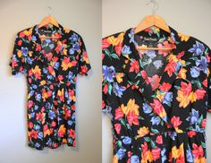 Floral Romper Vintage Black Shorts 1990s by InTheHammockVintage, $20.00