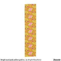 Bright mod pink yellow gold wavy shapes design short table runner