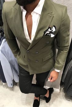 744cded89 Loving this high fashion men s olive green suit for your 2018 wardrobe  collection. Looks new
