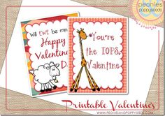 cute animal valentine cards for kids - just print and pass out, no special props needed.