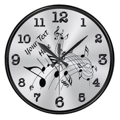 Swirling Personalized Music Note Clock, YOUR TEXT Large Clock