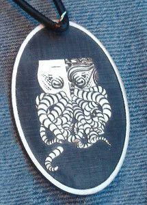 Tiki-thulhu Cameo Logo Pendant - White on Black Acrylic