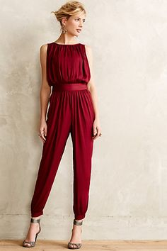 Anthropologie Draped Garnet Jumpsuit #anthrofav #greigedesign