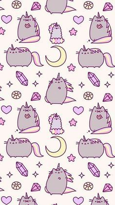 wallpaper, cat, and unicorn kép Unicornios Wallpaper, Kawaii Wallpaper, Cellphone Wallpaper, Pattern Wallpaper, Kawaii Drawings, Cute Drawings, 365 Kawaii, Iphone Hintegründe, Cute Wallpaper Backgrounds