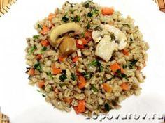 Перловая каша с грибами и луком Fried Rice, Fries, Ethnic Recipes, Food, Meals, Stir Fry Rice