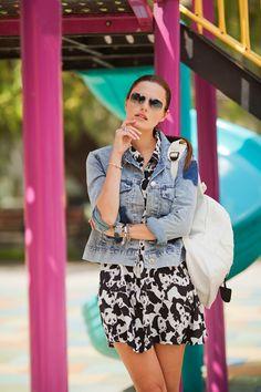 #panda #dress #zaful #denim #jacket #playful #style #styleblogger #triwa #watch #blue #fashionista #girl #streestyle #tomtop #backpack