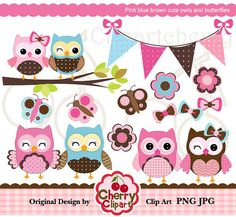 Pink blue brown cute owls and butterflies digital by Cherryclipart, $4.50