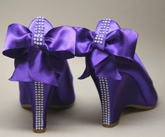 Custom Wedding Shoes -- Royal Purple Satin Wedges with Pearl Details and Matching Purple Bow.