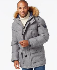 f7f2a84ddfc36 Details about Tommy Hilfiger Jacket Men XLT Gray Arctic Full Length Quilted  Coat Wind New  395