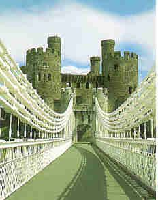 View of Conwy castle over Telford's suspension bridge