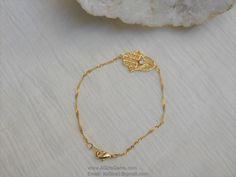 Handmade 16 K Gold Plated CZ Hasma Dainty Delicate Twist Chain Bracelet 7 inch Gold Hasma Protection Bracelet by AGirlsGems on Etsy