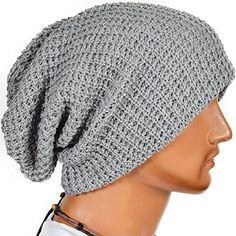 adb3a5ec544 Mens Slouchy Long Beanie Knit Cap for Summer Winter Oversize (Light Gray)  Z S
