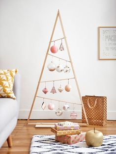 25 Rustic Stained A-frame Christmas Tree Ornament Display/ Ornament Hanger 3 - Weihnachten Wooden Christmas Trees, Modern Christmas, Xmas Tree, All Things Christmas, Simple Christmas, Christmas Home, Christmas Crafts, Minimalist Christmas Tree, Christmas Shirts