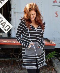 Black Striped Long Zip-Up www.daisyshoppe.com
