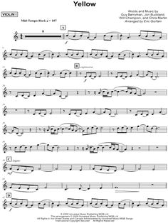 """Yellow"" Coldplay violin sheet music"