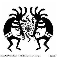 Black And White Southwest Kokopelli Tribal Sun Standing Photo Sculpture