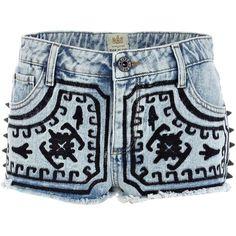 River Island Light wash embroidered stud denim shorts (170 DKK) ❤ liked on Polyvore featuring shorts, bottoms, pants, short, jeans, studded denim shorts, aztec shorts, light wash shorts, light wash denim shorts and studded jean shorts