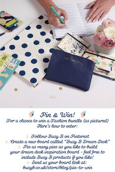 """Win a stylish selection of Busy B products by creating your own """"dream desk"""" pinboard! Full T&Cs on the blog: http://busyb.co.uk/store/blog/pin-to-win/"""