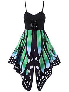 38f6925caa3c5 Geckatte Women Butterfly Print Spaghetti Strap Lace Up Empire Waist Swing  Dress Plus Size ,,