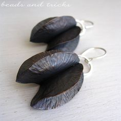 Copper and sterling silver earrings. Foldforming | Handmade by Beads and Tricks