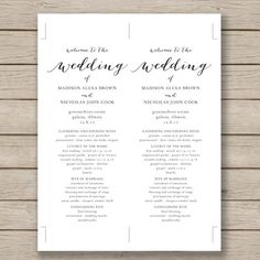 Free Wedding Program Templates Program Template Wedding Programs - Free printable wedding program templates