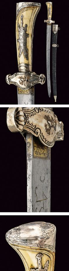 A silver mounted hunting hanger,  dating: last quarter of the 18th Century provenance: France.