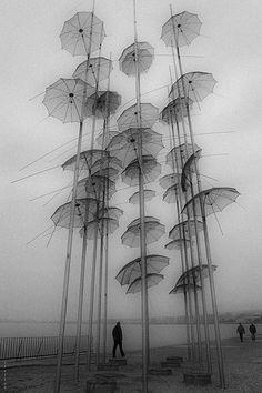 """The Umbrellas"" installation by George Zoggolopoulos in Thessaloniki, Greece. Photo by Stella Sidiropoulou Land Art, Instalation Art, Plakat Design, Umbrella Art, Umbrella Painting, Painting Art, Parasols, No Rain, Thessaloniki"
